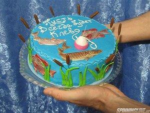 Торт без мастики для рыбака